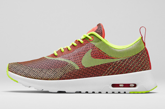 "a1f386beaf9b Nike Air Max Thea Jacquard ""Mercurial Collection"" Color  Hyper  Punch Volt-Black-Ivory Style Code  666545-607. Release Date  06 12 14.  Price   100"