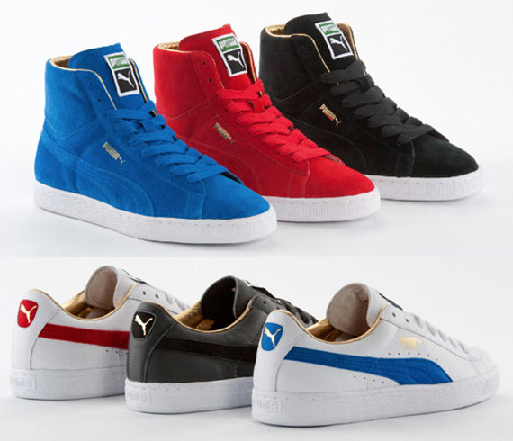 7f5760483dbb Puma Suede Mid + Basket  The List  - Gold Classic Pack - SneakerNews.com