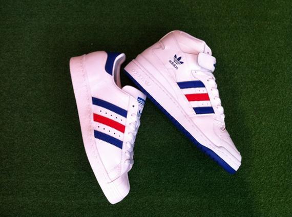 adidas Originals Forum Mid + Superstar 80s - White - Red - Blue ... 3013e10dc7