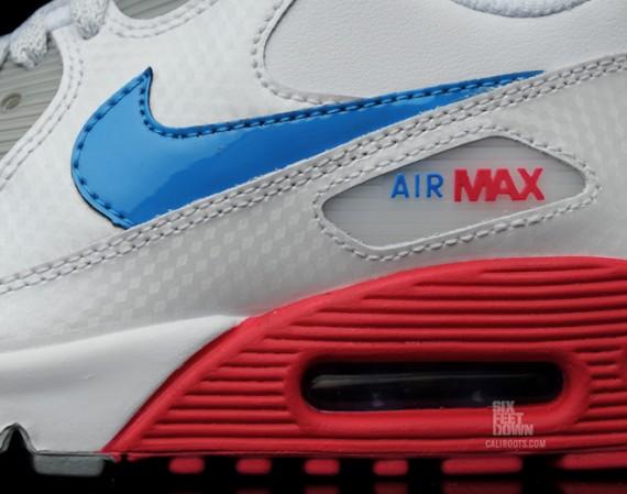 huge discount 479ed b89e0 Nike Air Max 90 GS White Blue Glow Cherry Metallic Silver chic