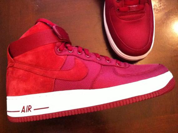 Nike Air Force 1 High Premium Team Red White