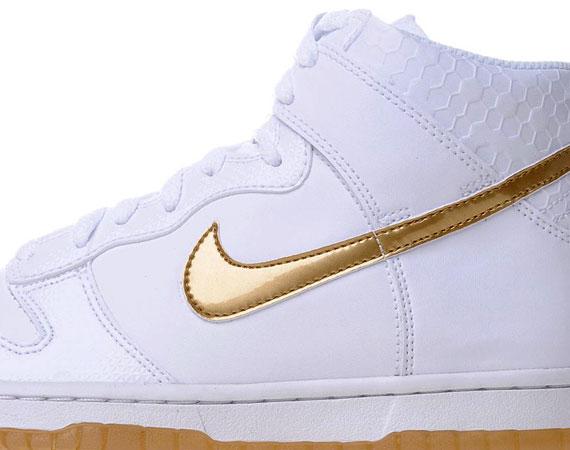 best service 233c9 b9c0f Nike Dunk High GS – White – Metallic Gold