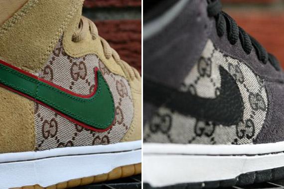 Nike SB Dunk High + Low 'Gucci' Customs