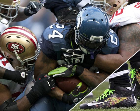 17b27e02bfd NFL Feet  Marshawn Lynch - Nike Vapor Talon Elite Fuse  Skittles  PE ...