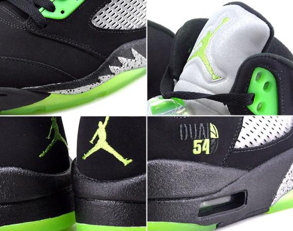 Air Jordan 5 Retro Quai 54 Black Radiant Green shoes