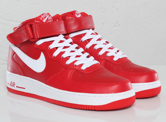 nike air force 1 mid white red
