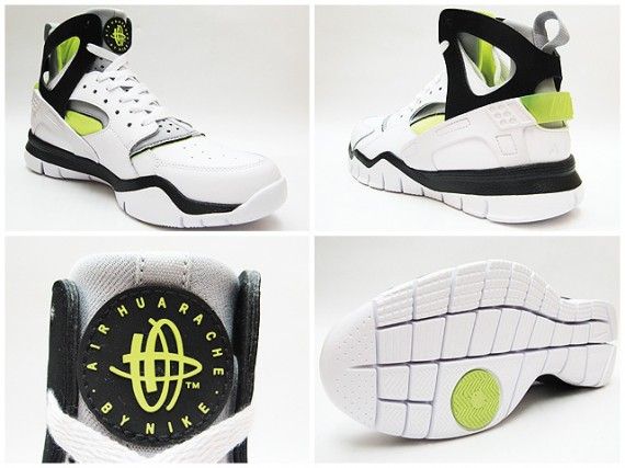 08238792837d Nike Huarache Free Basketball 2012 – White – Black – Volt