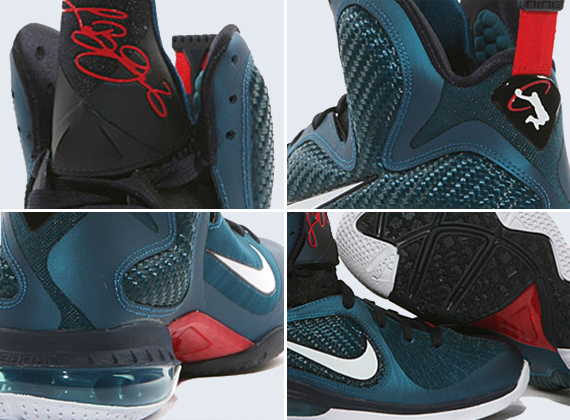 new concept bc753 c6e35 Nike LeBron 9 Green Abyss Obsidian Light Blue Heather new