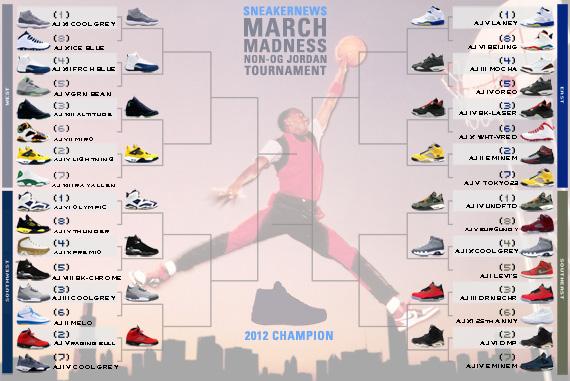 Sneaker News March Madness Non-OG Air Jordan Tournament – Sweet 16 Voting