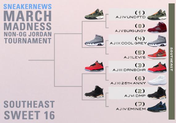 Sneaker News March Madness Non-OG Air Jordan Tournament – Sweet 16 Voting  8bcf53f70297