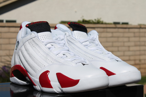 white and red jordan 14