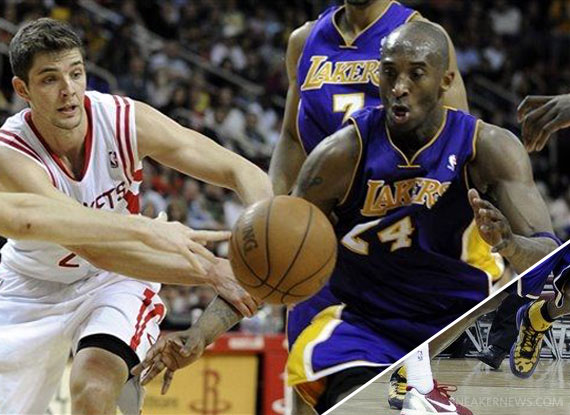 NBA Feet: Kobe Bryant - Nike Zoom Kobe VII \u0026#39;Poison Dart Frog\u0026#39; Lakers - SneakerNews.com