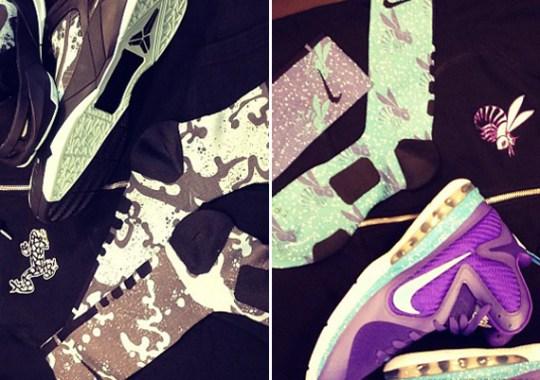 Nike Basketball Kobe & LeBron Elite Socks + Customized AW77 Hoodies