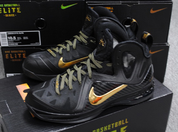 new styles a6733 e2555 Nike LeBron 9 P.S. Elite  Away  Black Metallic Gold-Black 516958-002  04 28 2012  250.00. Advertisement. show comments