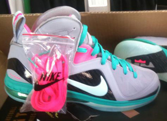 sports shoes e8fc3 f5077 Nike LeBron 10 X South Beach Grey Pink Black Blue