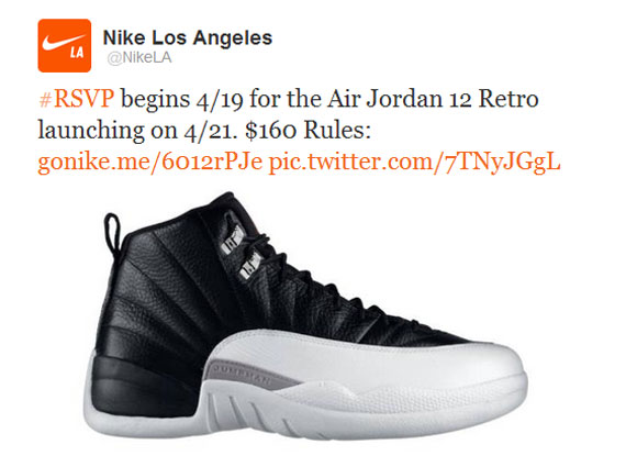sports shoes 861a4 7b8ba Air Jordan XII  Playoffs  Will Be Nike s First  Twitter RSVP  Release