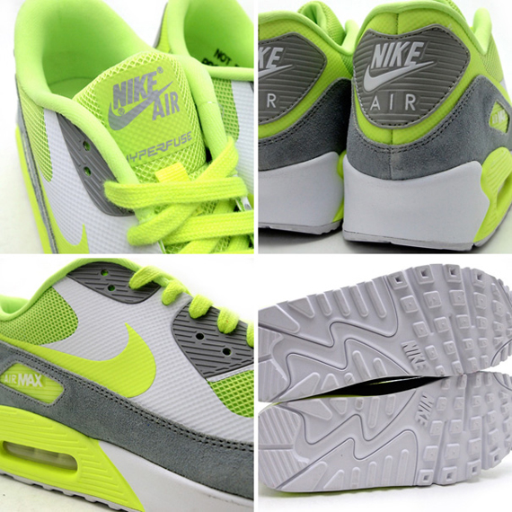 Nike Air Max 90 Hyperfuse Suede Pack Wolf Grey Volt White Shoes