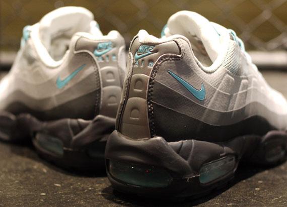 chic Nike Air Max 95 No Sew Grey Black Sax Blue s132716079