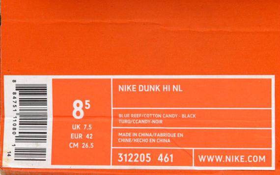 newest a16ff 2bd24 Undefeated x Nike Dunk High NL Blue ReefCotton Candy-Black 312205-461  052005. Photos Kixclusive