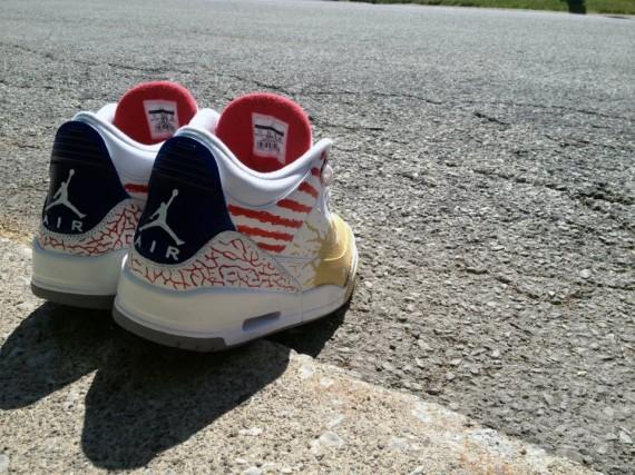 """Air Jordan III """"Dave White"""" Customs by DeJesus"""