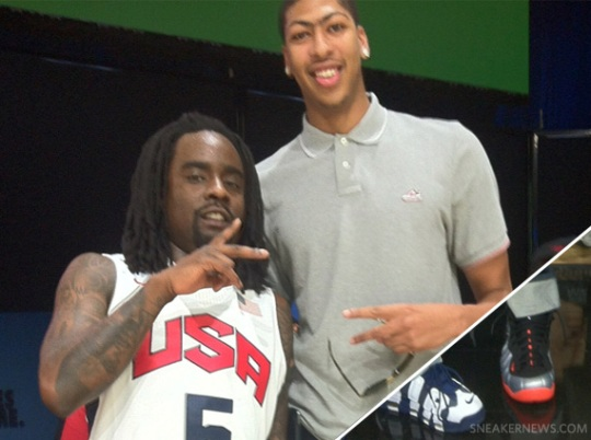 "Anthony Davis Wears Nike Air Foamposite Pro ""Crimson"""