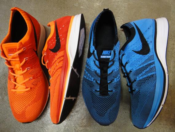 Orange Nike Flyknit Trainer+