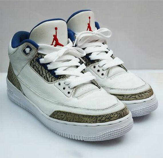 high-quality Air Jordan III quotTrue Bluequot x Air Force 1 Sole Swap b03abe993
