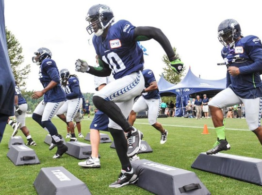 Terrell Owens Practices With Seahawks in Air Jordan III Black/Cement Cleats