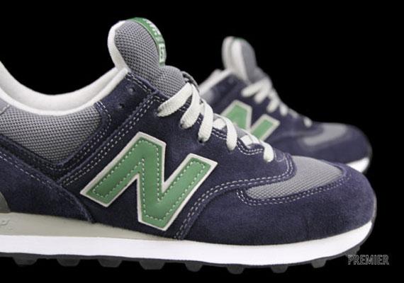 new balance 574 - dark grey / green / white