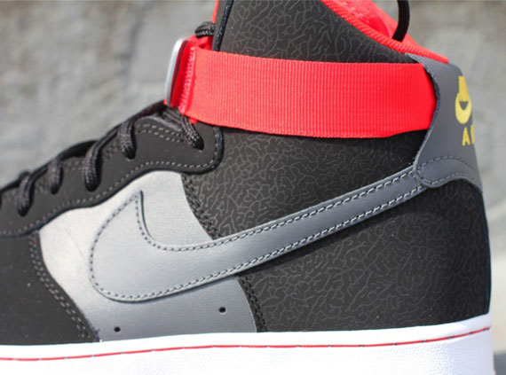 newest collection f7290 754ca Nike Air Force 1 High - Black - Dark Grey - Fire Red ...
