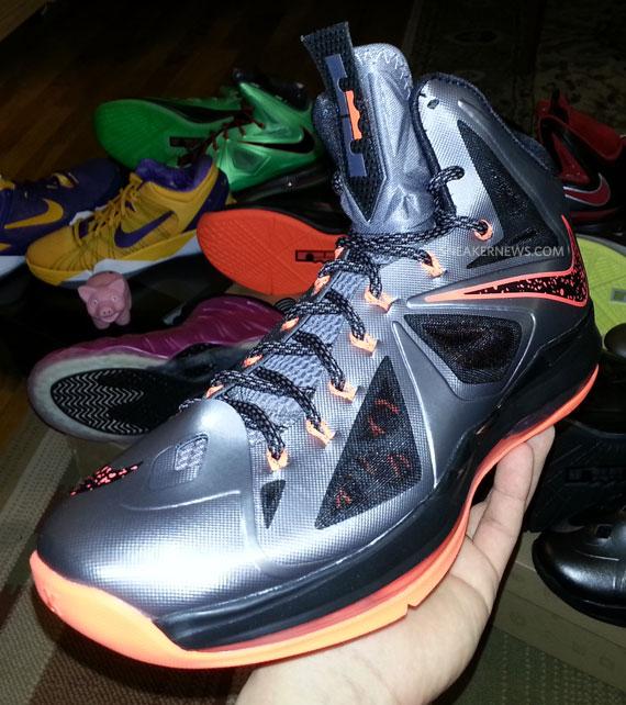 Newest Nike Lebron 10 Lava 2012 Grey Black Orange