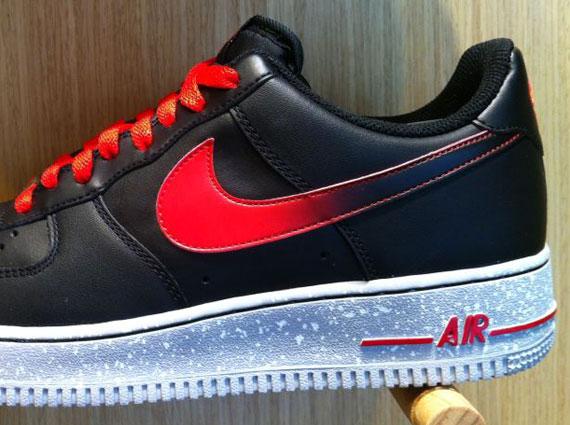 air force 1 black red