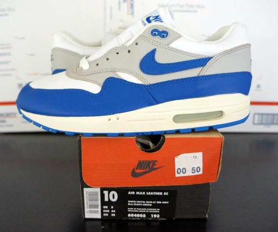 Nike Air Max 1 Leather White Royal Blue 1999 Retro