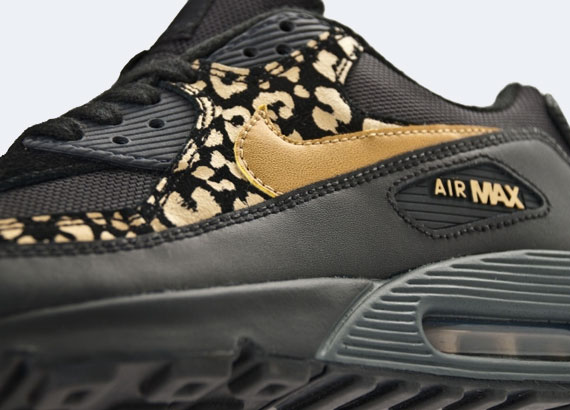 2012 nike wmns air max 90 black gold leopard running sneakers
