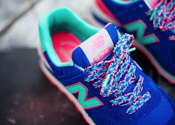 new balance 574 blue pink teal for sale