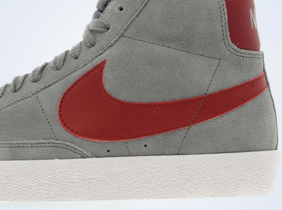 Nike Blazer High Suede Cool Grey Team Red