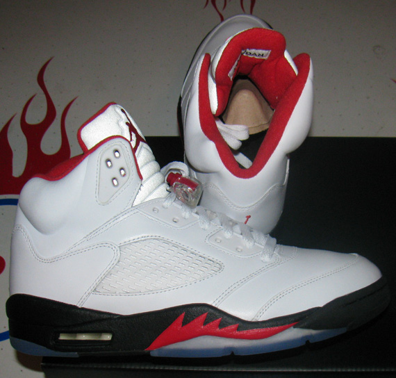 Air Jordan 5 Retro White/Fire Red-Black 136027-100 01/26/13. Shop this  Article: