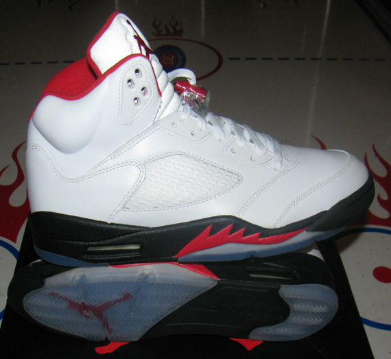 jordan 5 red and white