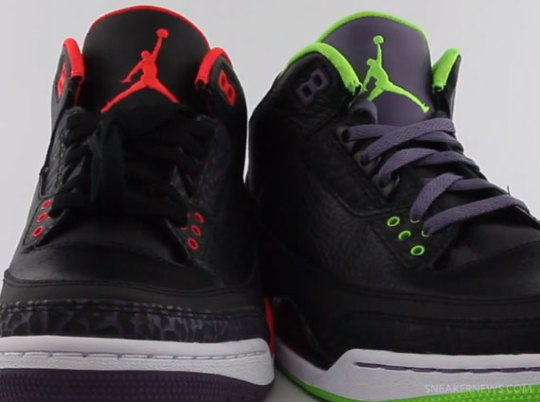 "Air Jordan III ""Bright Crimson"" + ""Joker"" Comparison Video"