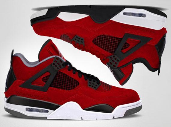 "reputable site 2b9c5 9eb32 Air Jordan IV ""Fire Red Suede"" vs. Melo PE Comparison Renderings"