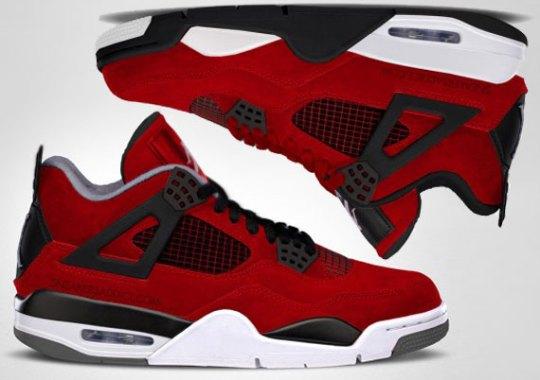 "Air Jordan IV ""Fire Red Suede"" vs. Melo PE Comparison Renderings"
