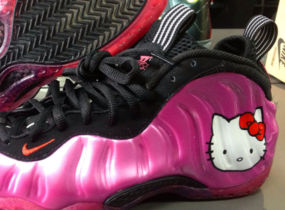 """best cheap 8daa6 62ca4 Nike Air Foamposite One """"Hello Kitty"""" Customs by Sole Swap and Rebel Aire"""
