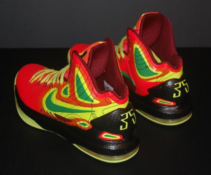 Nike kd v weatherman on fire customs by jp custom kicks for Kevin durant weatherman shirt