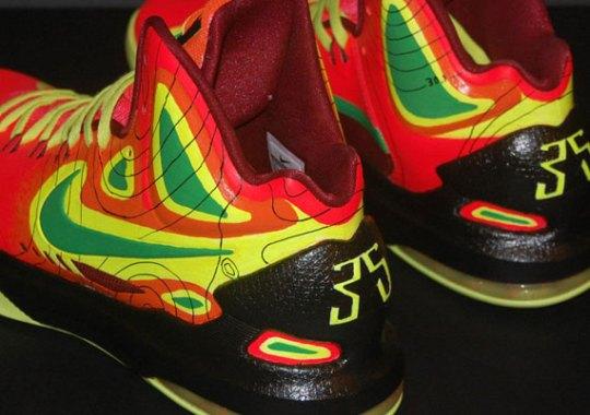 "Nike KD V ""Weatherman on Fire"" Customs by JP Custom Kicks"