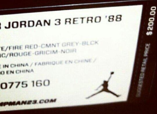 Air Jordan III Retro '88 Retail Price