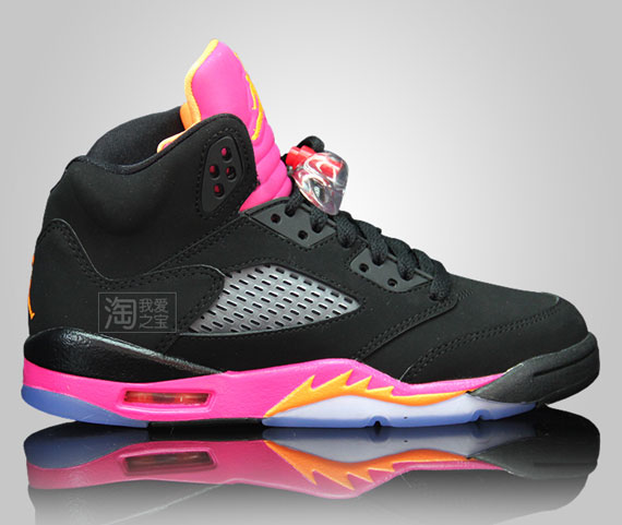 68083e648fc1 Air Jordan V GS - Black - Pink - Orange - SneakerNews.com