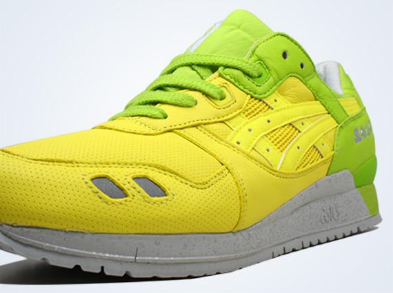 asics gel lyte iii white green yellow
