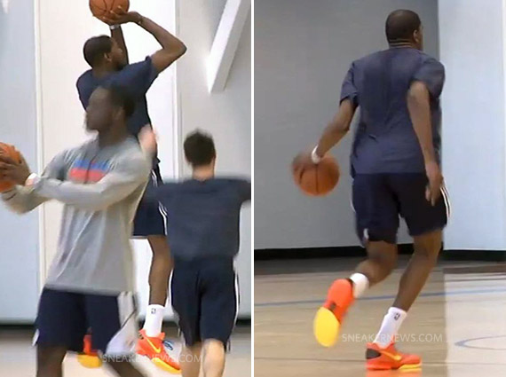 Kevin Durant Practices in Unidentified Low Cut Nike Model