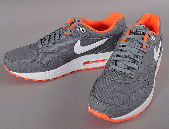 free shipping 5746e 9763e Nike Air Max 1 – Grey Denim Twill – Orange