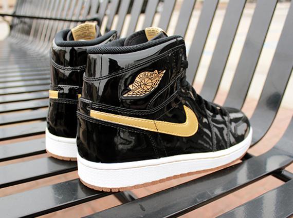 black and gold patent leather jordan 1